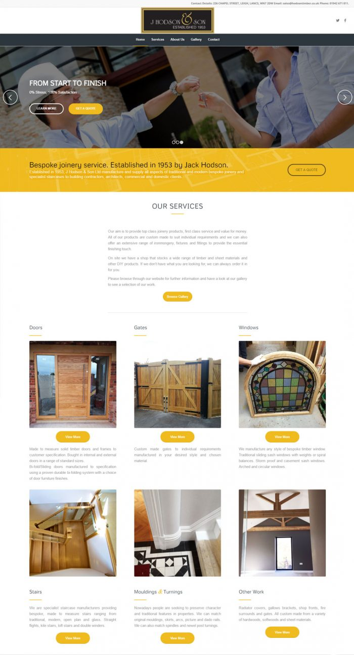 J Hodson & Sons website